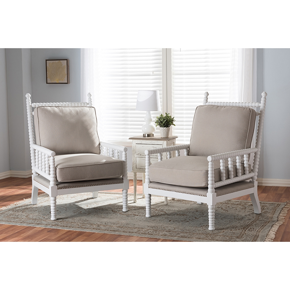 Hillary Wood Spindle Back Accent Chair White And Beige