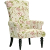 Kimmett Linen Floral Accent Chair Beige And Pink Dcg Stores