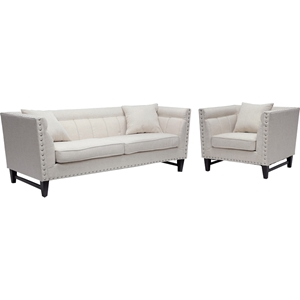 Stapleton 2-Piece Sofa Set - Nailhead, Beige