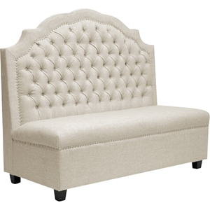 Trumbull Linen Settee Bench - Button Tufted, Beige