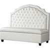 Trumbull Bonded Leather Settee Bench - Button Tufted, Beige - WI-TSF-71025-BENCH-BONDED-LEATHER-BEIGE