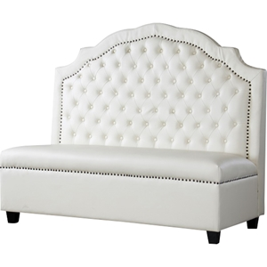 Trumbull Bonded Leather Settee Bench - Button Tufted, Beige