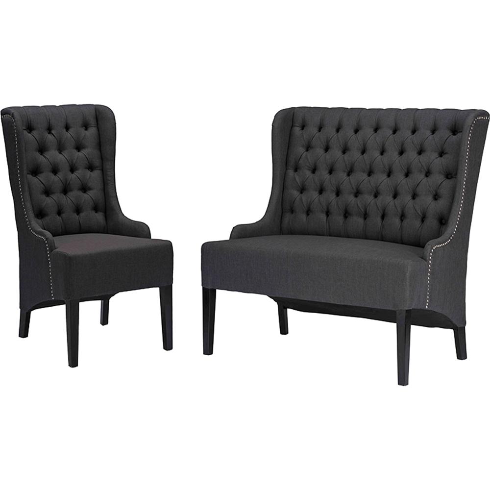 Vincent 2 Piece Sofa Set Button Tufted Gray Dcg Stores