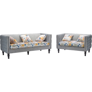 Penelope 2-Piece Paisley Floral Sofa Set - Gray
