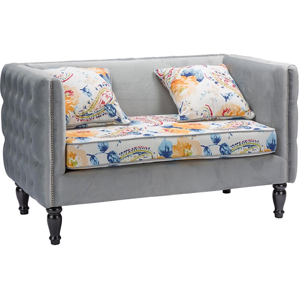 Penelope 2 piece paisley floral sofa set gray dcg stores for 2 piece sofa set
