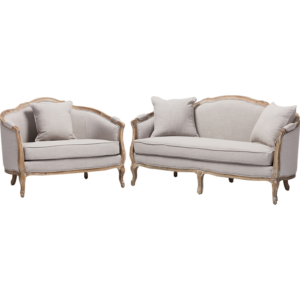 Chantal 2 Piece Linen Upholstered Living Room Set Beige Dcg Stores