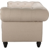 Cassandra Linen Upholstered Chesterfield Sofa - Rolled Arm, Beige - WI-TSF-8149-3-SF-BEIGE