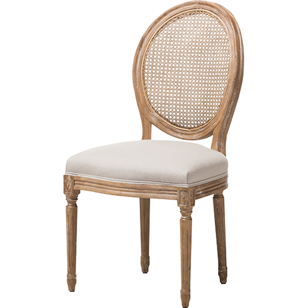 Adelia Upholstered Dining Side Chair Round Cane Back