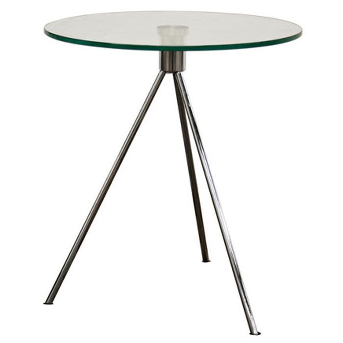 Triplet Round Glass Top End Table with Tripod Base - WI-TTT-01