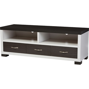 Oxley 3 Drawers Entertainment TV Cabinet - Dark Brown, White