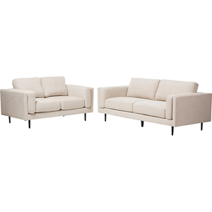 Brittany 2-Piece Fabric Upholstered Sofa Set - Light Beige