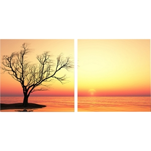 Blazing Horizon Mounted Photography Print Diptych - Multicolor