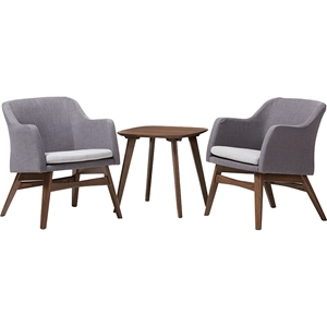 Vera 3-Piece Lounge Chair and Side Table - Walnut Base, Gray Upholstered