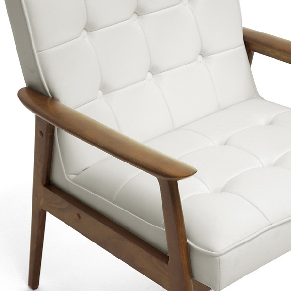 ... Stratham Modern Armchair   Button Tufts, Wood Frame, White Seat    WI WIKI