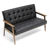 Stratham Modern Sofa - Button Tufts, Wood Frame, Black Seat - WI-WIKI-CN-J-BLACK