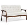 stratham modern sofa button tufts wood frame white seat wi wiki - Wood Frame Couch