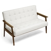 Stratham Modern Sofa - Button Tufts, Wood Frame, White Seat - WI-WIKI-CN-J-WHITE