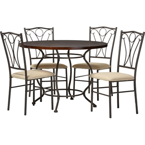 Greggory 5-Piece Round Casual Dining Set - Antiqued Bronze