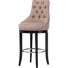 Harmony Upholstered Bar Stool - Button Tufted, Beige - WI-WS-2076-BEIGE