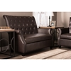 Brixton Faux Leather Loveseat - Button Tufted, Brown - WI-WS-2630-MATT-BROWN