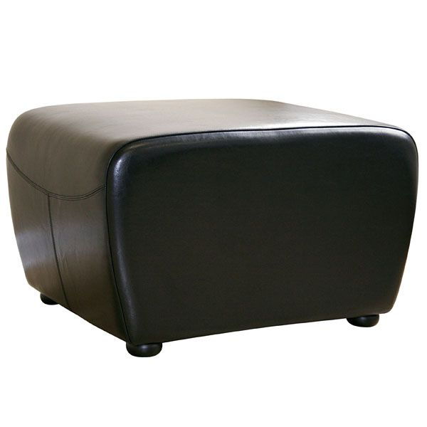 Oxford Full Leather Ottoman in Black
