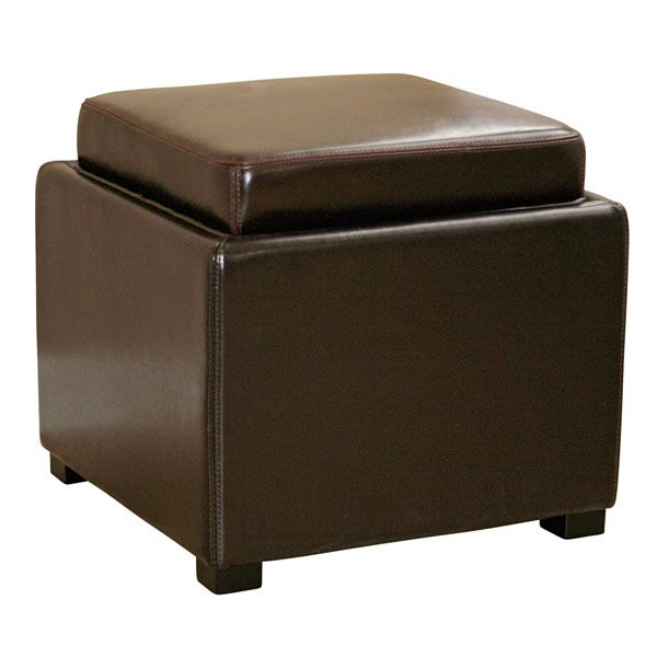 Marc Storage Cube Ottoman in Dark Brown