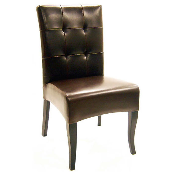 Kirkwood espresso brown tufted leather dining chair dcg for Tufted leather dining room chairs