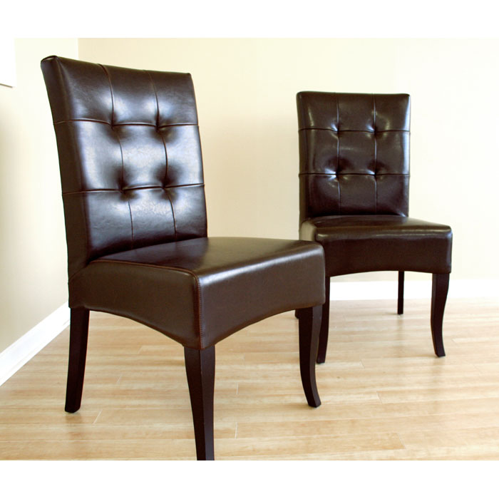 Kirkwood Espresso Brown Tufted Leather Dining Chair - WI-Y-073