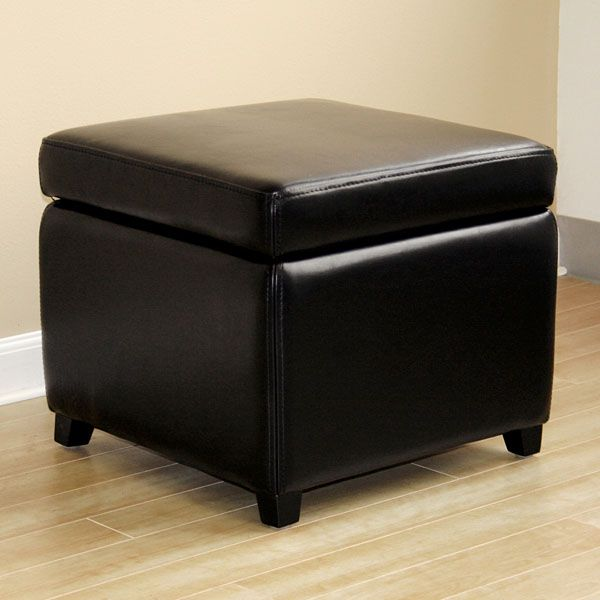 Stella Full Leather Black Square Storage Ottoman - WI-Y-162-J023