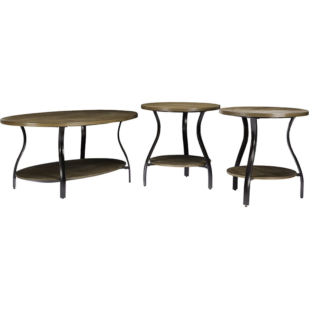 Newcastle 3 piece table set brown antique bronze dcg for Living room newcastle