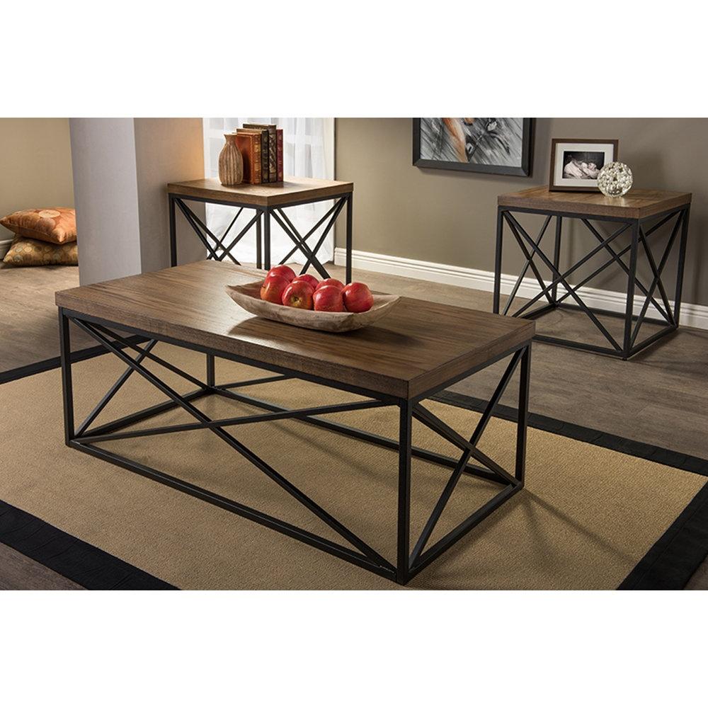 Bronze Industrial Coffee Table: Holden Rectangular Coffee Cocktail Table