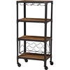 Swanson Mobile Kitchen Bar Wine Cabinet - Antique Black, Antiqued Bronze - WI-YLX-9033