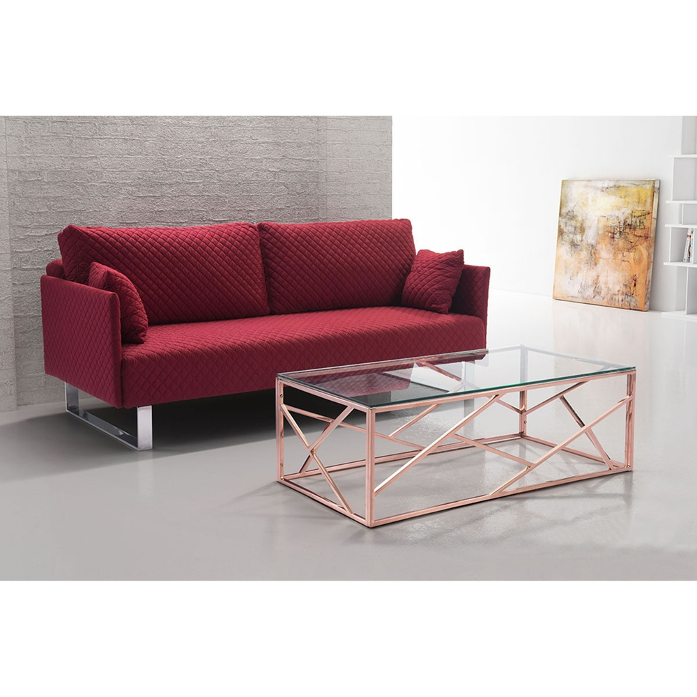 Cage Coffee Table Glass Top Rose Gold