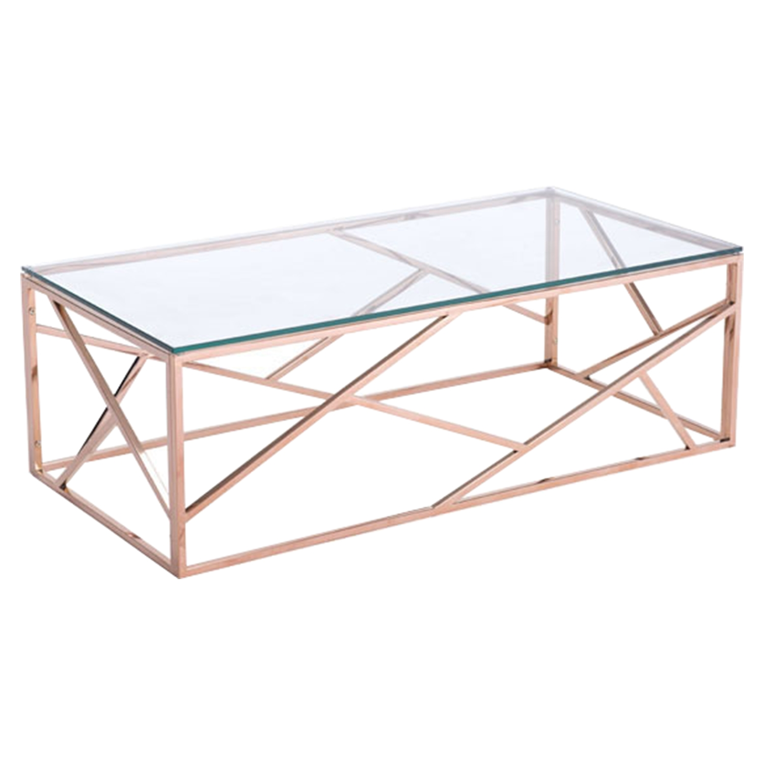 Cage Coffee Table - Glass Top, Rose Gold - ZM-100180