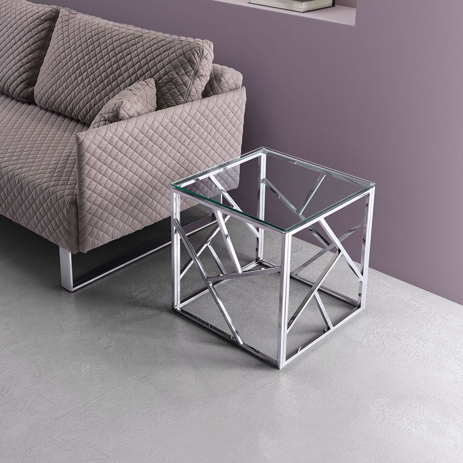 Cage Side Table - Stainless Steel - ZM-100181
