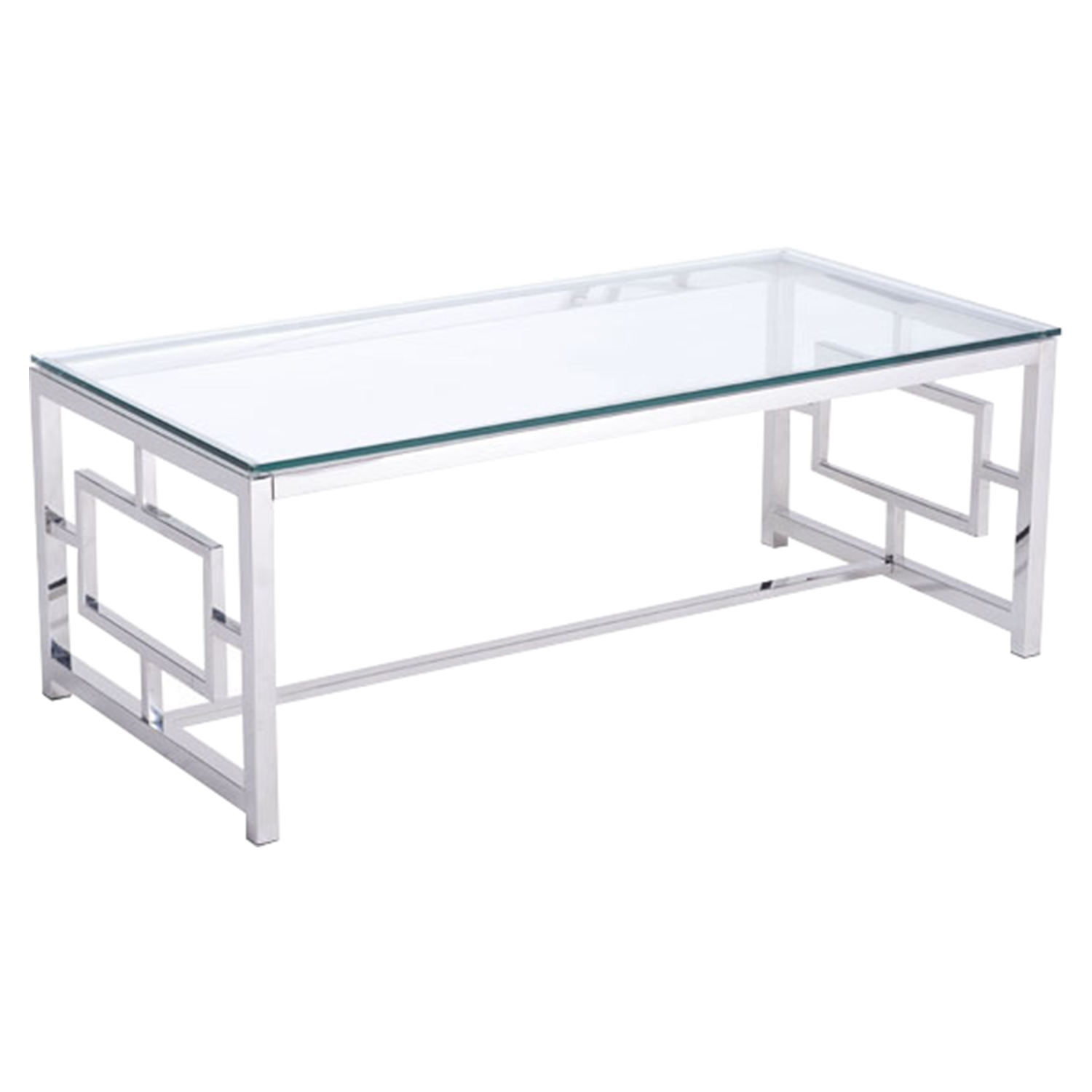 Geranium Coffee Table - Glass Top, Stainless Steel - ZM-100183