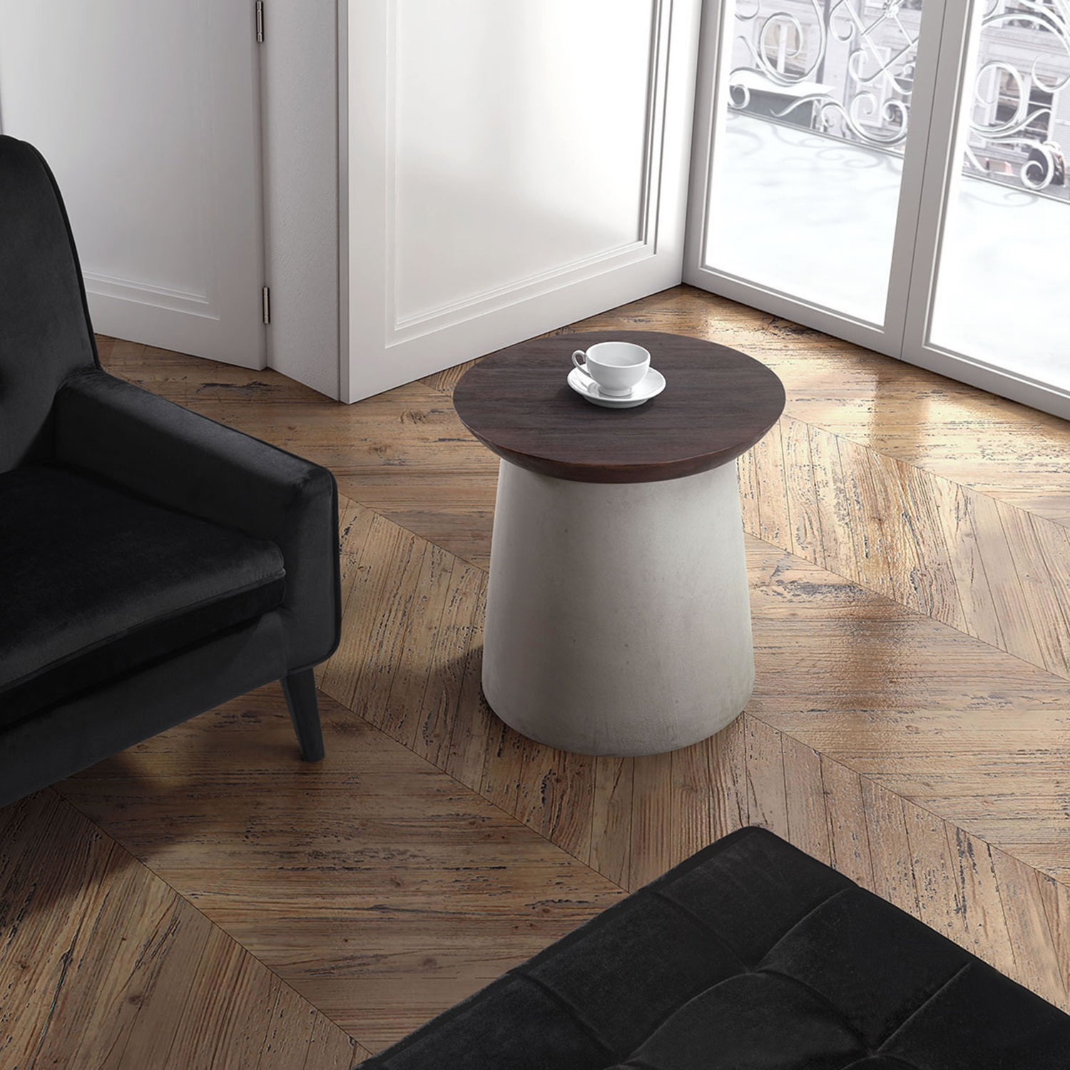 Henge Side Table - Cement and Walnut - ZM-100205