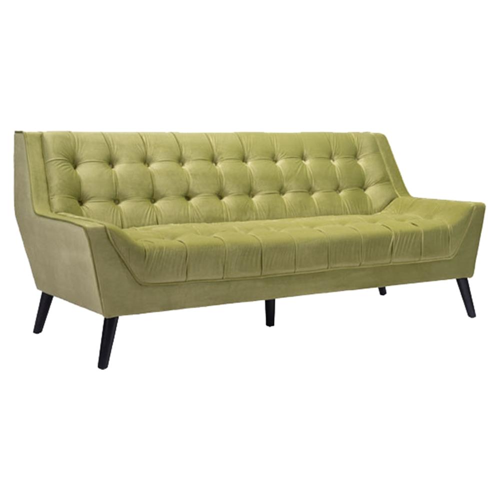 Nantucket sofa tufted green velvet dcg stores for Button tufted velvet chaise settee green