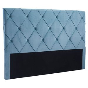 Matias Headboard King - Tufted, Blue Velvet