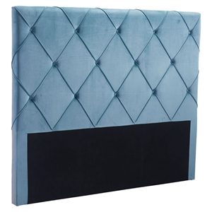 Matias Headboard Queen - Tufted, Blue Velvet