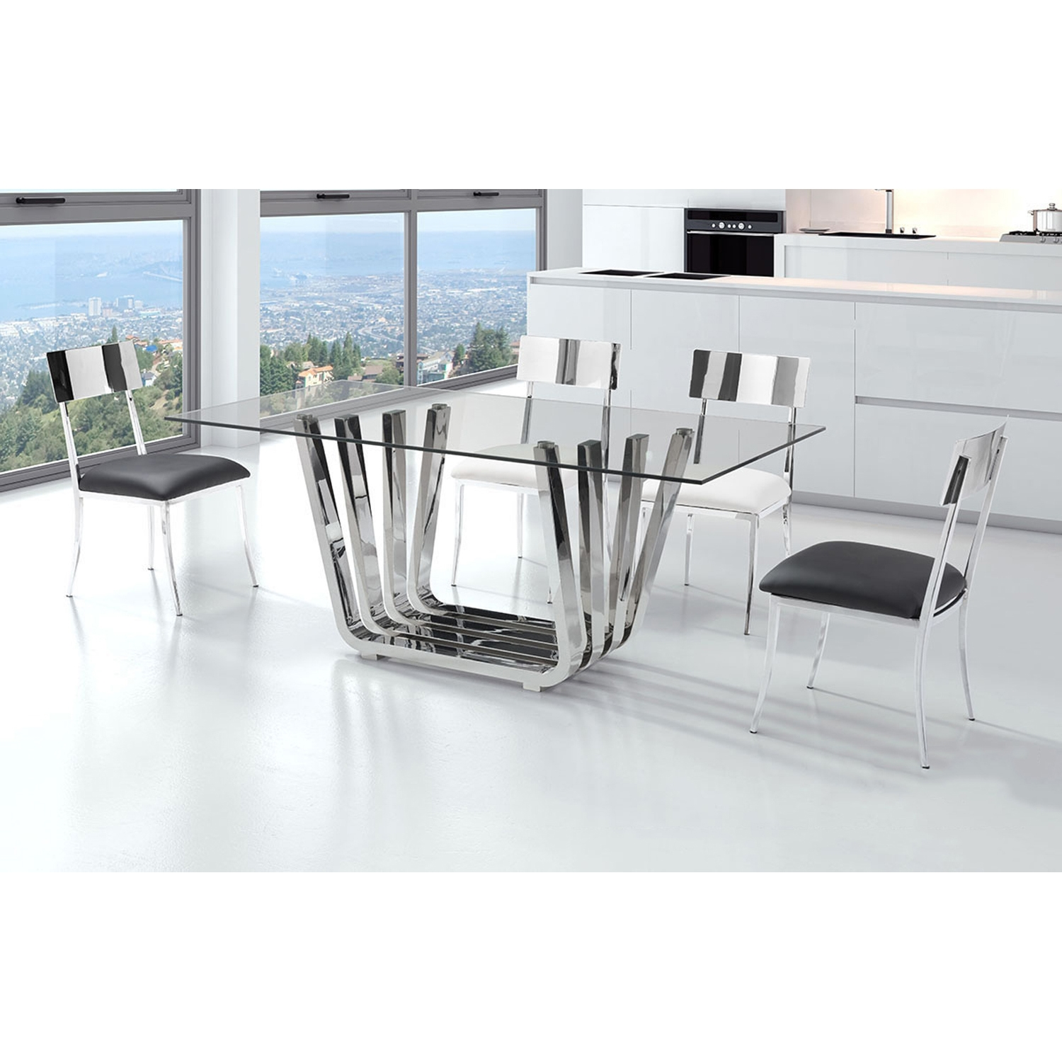 Fan Dining Table - Chrome - ZM-100325