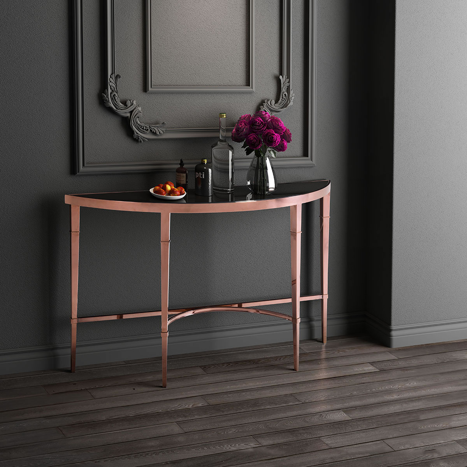 Elite Half Moon Console Table - Rose Gold and Black - ZM-100348