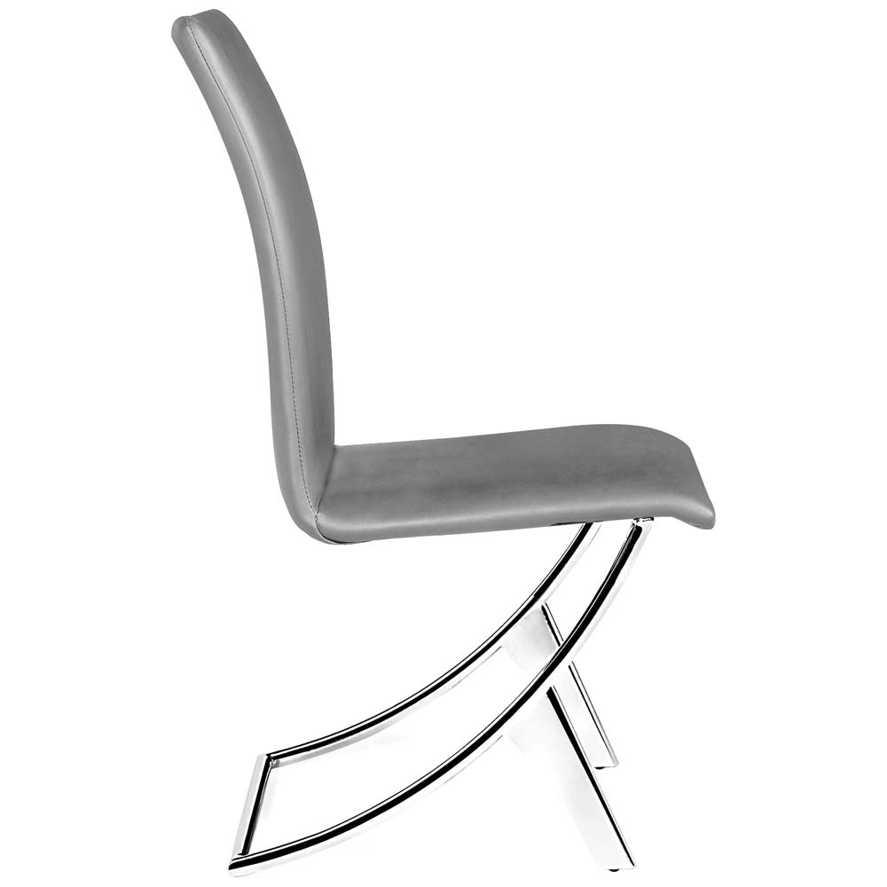 Delfin Dining Chair - Chrome Steel, Gray - ZM-102106