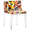 Pizzaro Dining Chair Clear Legs Print Fabric