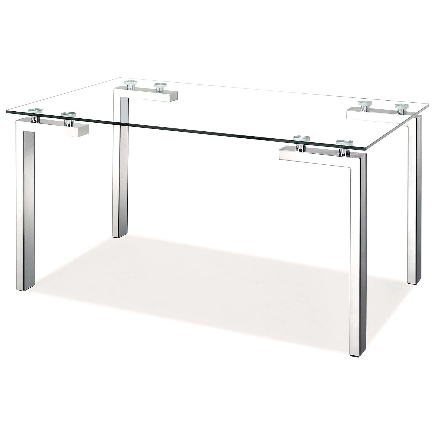 Roca Modern Dining Table - Tempered Glass, Stainless Steel - ZM-102142