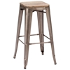 "Marius 29"" Backless Bar Chair - Steel, Wood, Faux Rust - ZM-106107"