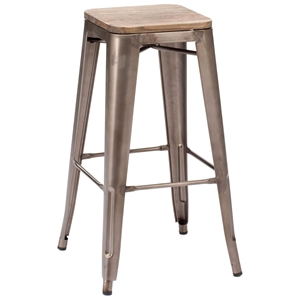 "Marius 29"" Backless Bar Chair - Steel, Wood, Faux Rust"