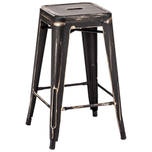 "Marius 26"" Counter Chair - Steel, Antique Black Gold"