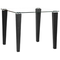 Column Dining Table - Tempered Glass, Upholstered Legs, Black