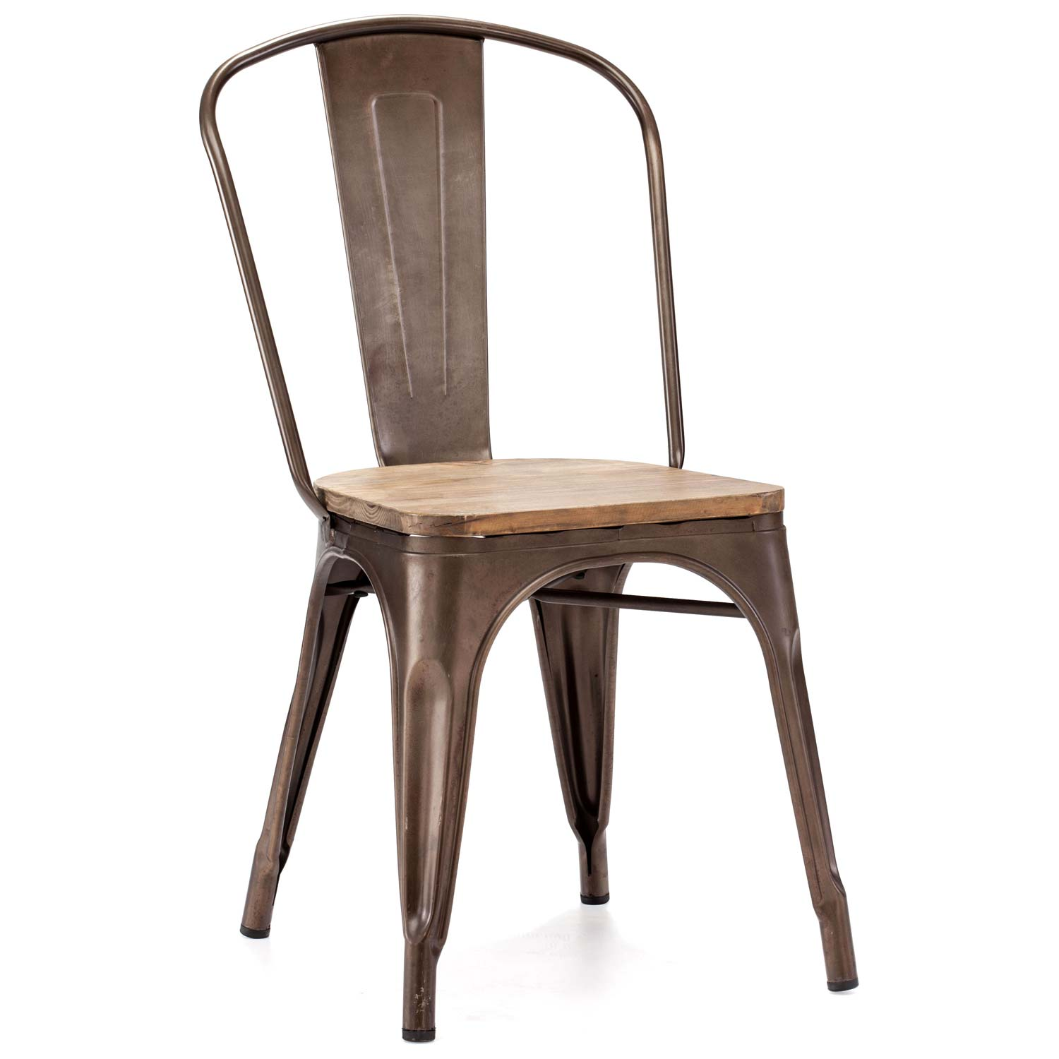 Elio Dining Chair Steel Faux Rust Wood Seat Dcg Stores